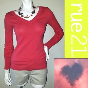 CORAL PINK Classic V-Neck Knit Top Thin Sweater M